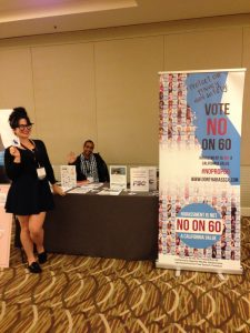 Free Speech Coalition spokesperson Siouxsie Q and adult performer Mickey Mod spread the word at CatalystCon