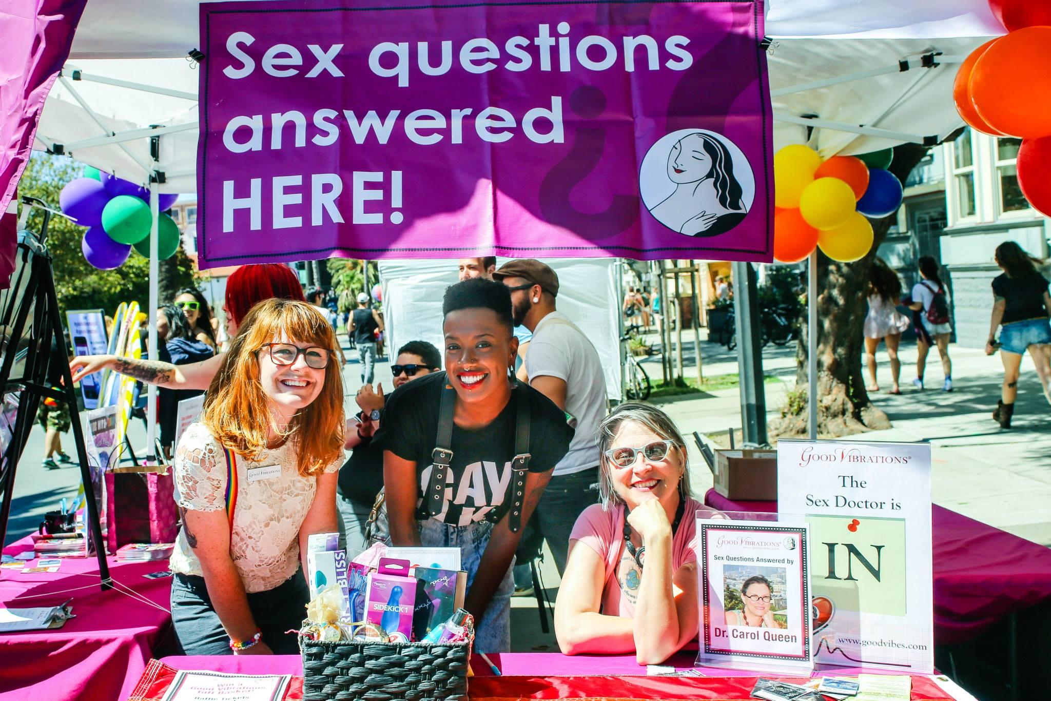 Dr. Queen at the Good Vibrations Dyke March booth