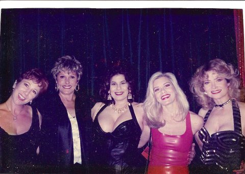 (L to R: Annie Sprinkle, Gloria Leonard, Veronica Vera, Candida Royalle, Veronica Hart). Photo courtesy Annie Sprinkle